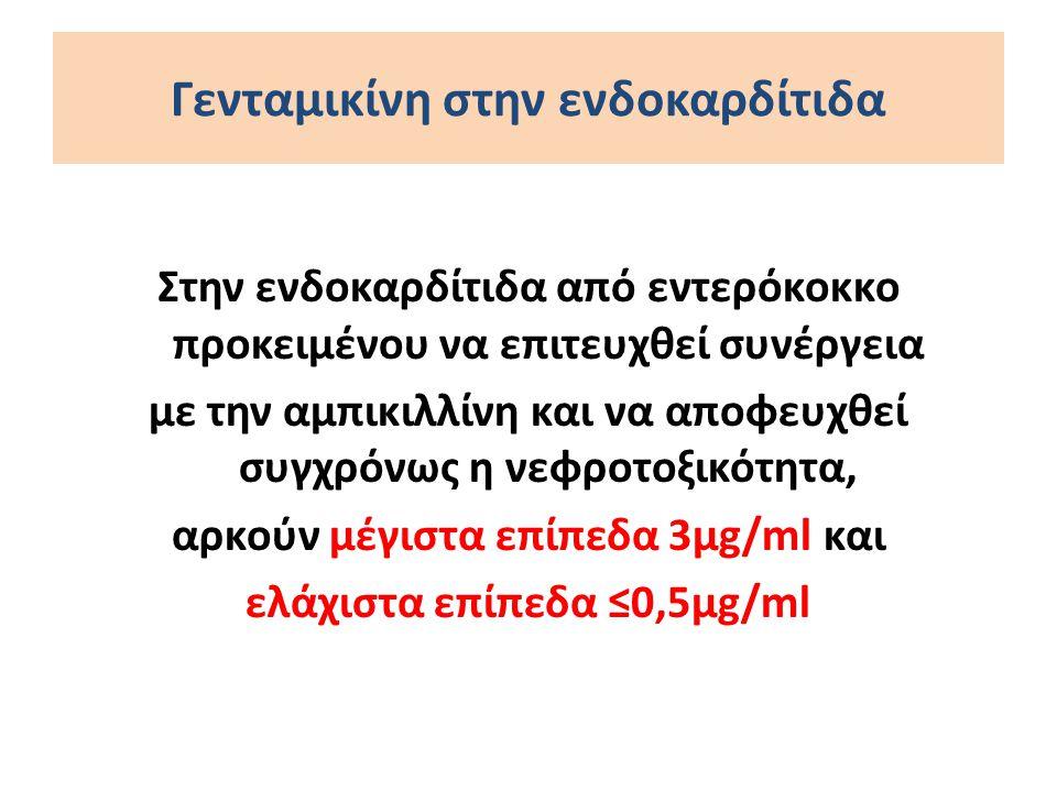 Γενταμικίνη στην ενδοκαρδίτιδα Στην ενδοκαρδίτιδα από εντερόκοκκο προκειμένου να επιτευχθεί συνέργεια με την αμπικιλλίνη και να αποφευχθεί συγχρόνως η