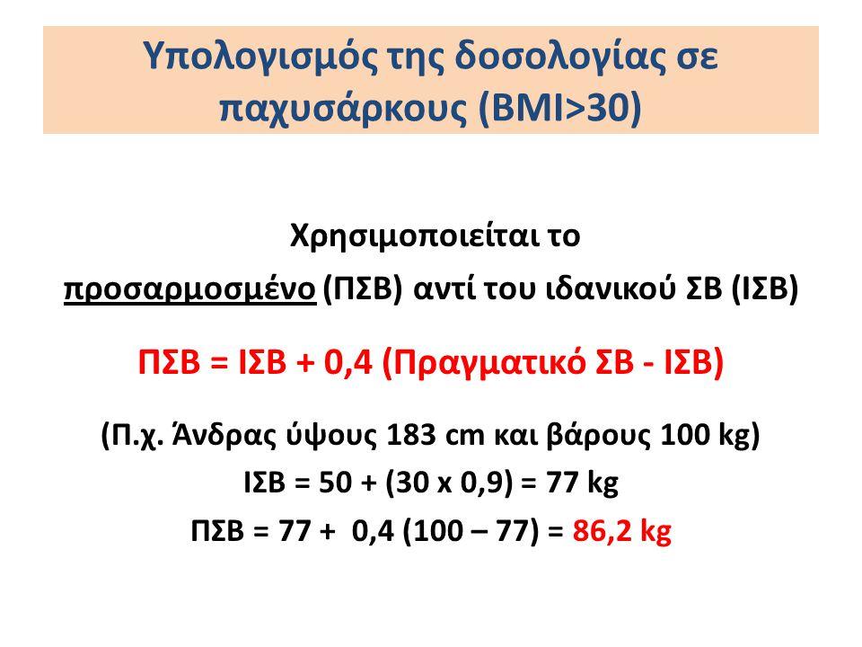 Υπολογισμός της δοσολογίας σε παχυσάρκους (ΒΜΙ>30) Χρησιμοποιείται το προσαρμοσμένο (ΠΣΒ) αντί του ιδανικού ΣΒ (ΙΣΒ) ΠΣΒ = ΙΣΒ + 0,4 (Πραγματικό ΣΒ -