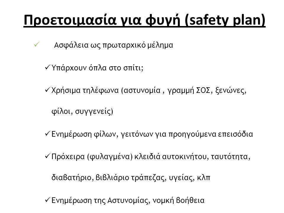 Προετοιμασία για φυγή (safety plan) Ασφάλεια ως πρωταρχικό μέλημα Υπάρχουν όπλα στο σπίτι; Χρήσιμα τηλέφωνα (αστυνομία, γραμμή ΣΟΣ, ξενώνες, φίλοι, συγγενείς) Ενημέρωση φίλων, γειτόνων για προηγούμενα επεισόδια Πρόχειρα (φυλαγμένα) κλειδιά αυτοκινήτου, ταυτότητα, διαβατήριο, βιβλιάριο τράπεζας, υγείας, κλπ Ενημέρωση της Αστυνομίας, νομκή βοήθεια