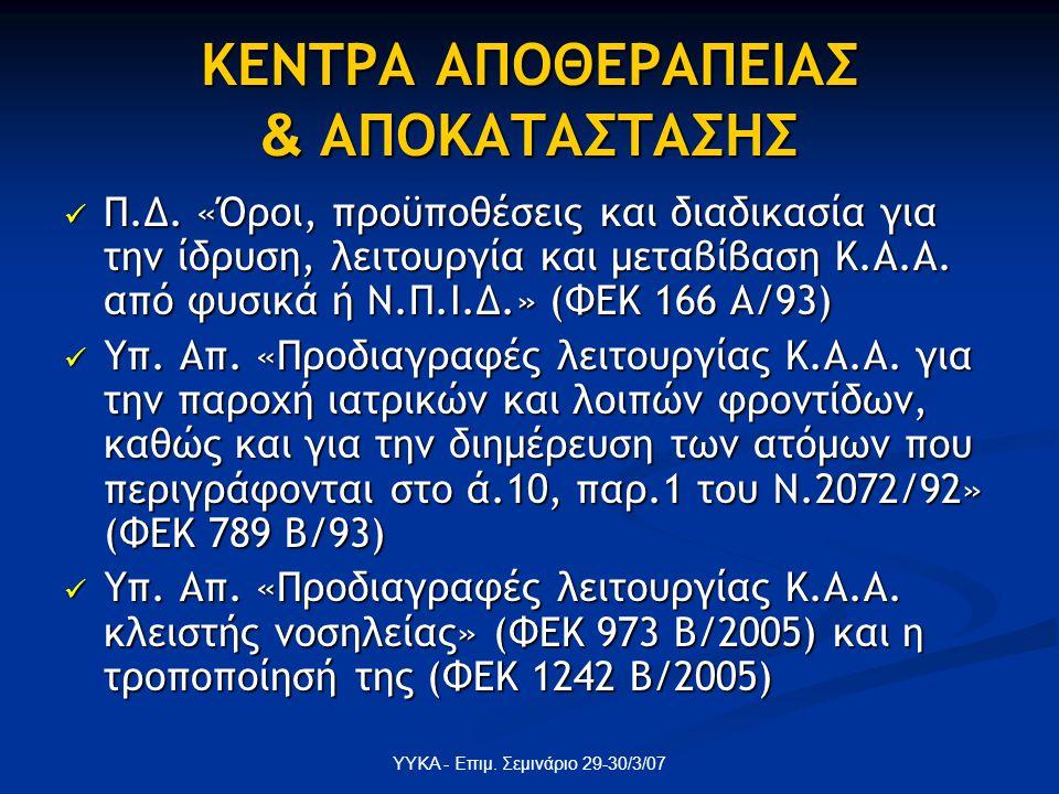 ΥΥΚΑ - Επιμ. Σεμινάριο 29-30/3/07 ΚΕΝΤΡΑ ΑΠΟΘΕΡΑΠΕΙΑΣ & ΑΠΟΚΑΤΑΣΤΑΣΗΣ Π.Δ. «Όροι, προϋποθέσεις και διαδικασία για την ίδρυση, λειτουργία και μεταβίβασ