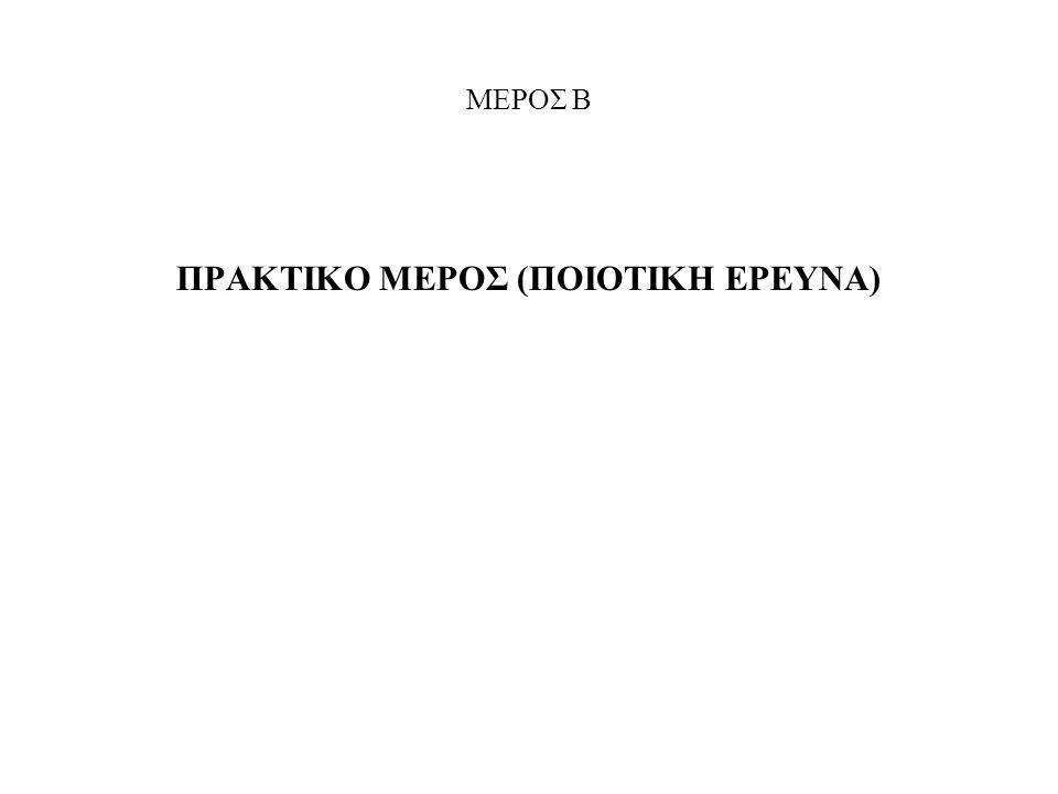ΜΕΡΟΣ Β ΠΡΑΚΤΙΚΟ ΜΕΡΟΣ (ΠΟΙΟΤΙΚΗ ΕΡΕΥΝΑ)