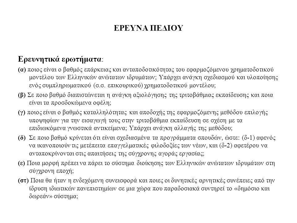 ΕΡΕΥΝΑ ΠΕΔΙΟΥ Ερευνητικά ερωτήματα : (α) ποιος είναι ο βαθμός επάρκειας και ανταποδοτικότητας του εφαρμοζόμενου χρηματοδοτικού μοντέλου των Ελληνικών ανώτατων ιδρυμάτων; Υπάρχει ανάγκη σχεδιασμού και υλοποίησης ενός συμπληρωματικού (σ.σ.