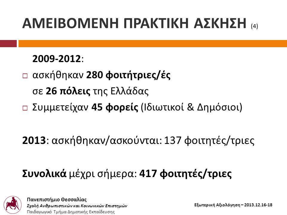 Πανεπιστήμιο Θεσσαλίας Σχολή Ανθρωπιστικών και Κοινωνικών Επιστημών Παιδαγωγικό Τμήμα Δημοτικής Εκπαίδευσης Εξωτερική Αξιολόγηση – 2013.12.16-18 ΑΜΕΙΒΟΜΕΝΗ ΠΡΑΚΤΙΚΗ ΑΣΚΗΣΗ (4) 2009-2012:  ασκήθηκαν 280 φοιτήτριες / ές σε 26 πόλεις της Ελλάδας  Συμμετείχαν 45 φορείς ( Ιδιωτικοί & Δημόσιοι ) 2013: ασκήθηκαν / ασκούνται : 137 φοιτητές / τριες Συνολικά μέχρι σήμερα : 417 φοιτητές / τριες