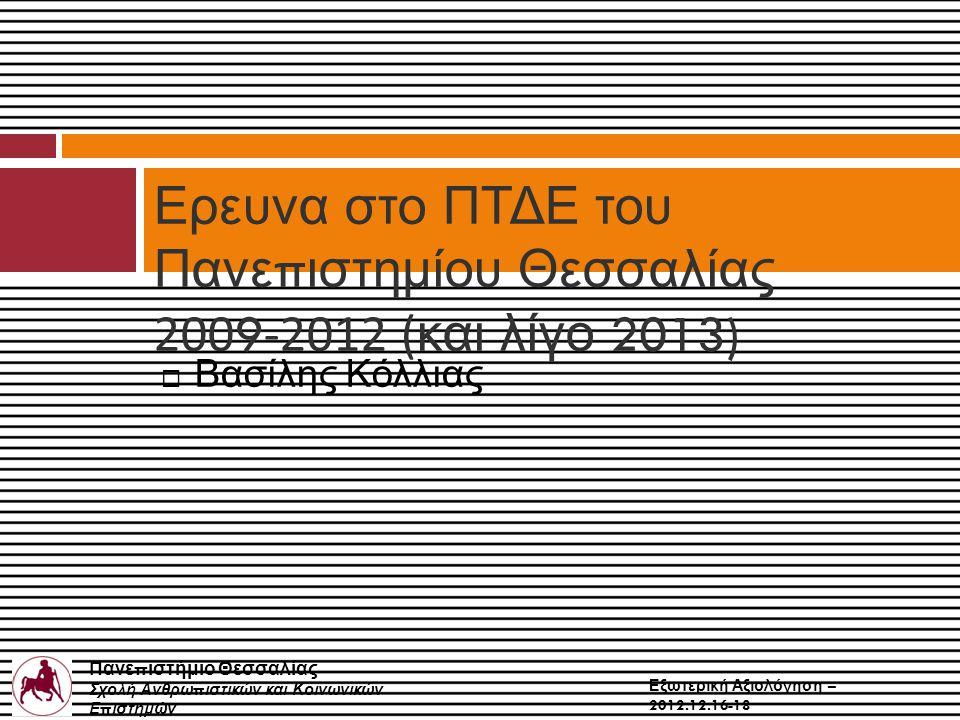 Πανε π ιστήμιο Θεσσαλίας Σχολή Ανθρω π ιστικών και Κοινωνικών Ε π ιστημών Παιδαγωγικό Τμήμα Δημοτικής Εκ π αίδευσης Εξωτερική Αξιολόγηση – 2012.12.16-18  Βασίλης Κόλλιας Ερευνα στο ΠΤΔΕ του Πανε π ιστημίου Θεσσαλίας 200 9 -2012 ( και λίγο 2013)