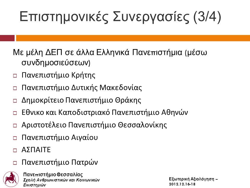 Πανε π ιστήμιο Θεσσαλίας Σχολή Ανθρω π ιστικών και Κοινωνικών Ε π ιστημών Παιδαγωγικό Τμήμα Δημοτικής Εκ π αίδευσης Εξωτερική Αξιολόγηση – 2012.12.16-18 Επιστημονικές Συνεργασίες (3/4) Με μέλη ΔΕΠ σε άλλα Ελληνικά Πανε π ιστήμια ( μέσω συνδημοσιεύσεων )  Πανεπιστήμιο Κρήτης  Πανεπιστήμιο Δυτικής Μακεδονίας  Δημοκρίτειο Πανεπιστήμιο Θράκης  Εθνικο και Καποδιστριακό Πανεπιστήμιο Αθηνών  Αριστοτέλειο Πανεπιστήμιο Θεσσαλονίκης  Πανεπιστήμιο Αιγαίου  ΑΣΠΑΙΤΕ  Πανεπιστήμιο Πατρών