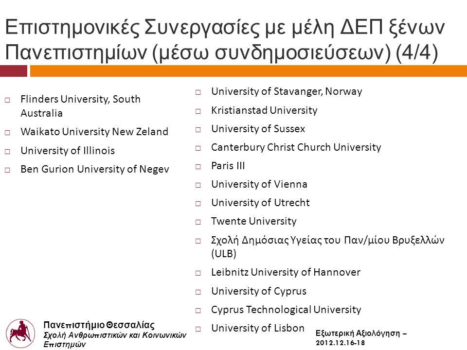 Πανε π ιστήμιο Θεσσαλίας Σχολή Ανθρω π ιστικών και Κοινωνικών Ε π ιστημών Παιδαγωγικό Τμήμα Δημοτικής Εκ π αίδευσης Εξωτερική Αξιολόγηση – 2012.12.16-18 Επιστημονικές Συνεργασίες με μέλη ΔΕΠ ξένων Πανεπιστημίων (μέσω συνδημοσιεύσεων) (4/4)  Flinders University, South Australia  Waikato University New Zeland  University of Illinois  Ben Gurion University of Negev  University of Stavanger, Norway  Kristianstad University  University of Sussex  Canterbury Christ Church University  Paris III  University of Vienna  University of Utrecht  Twente University  Σχολή Δημόσιας Υγείας του Παν/μίου Βρυξελλών (ULB)  Leibnitz University of Hannover  University of Cyprus  Cyprus Technological University  University of Lisbon