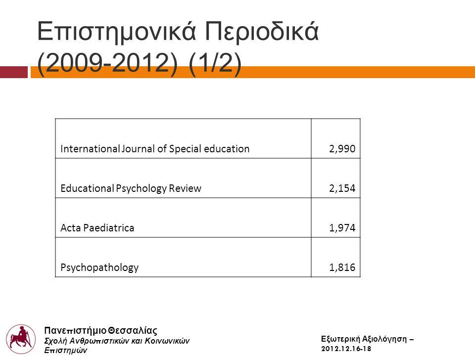 Πανε π ιστήμιο Θεσσαλίας Σχολή Ανθρω π ιστικών και Κοινωνικών Ε π ιστημών Παιδαγωγικό Τμήμα Δημοτικής Εκ π αίδευσης Εξωτερική Αξιολόγηση – 2012.12.16-18 Επιστημονικά Περιοδικά (2009-2012) (1/2) International Journal of Special education2,990 Educational Psychology Review2,154 Acta Paediatrica1,974 Psychopathology1,816