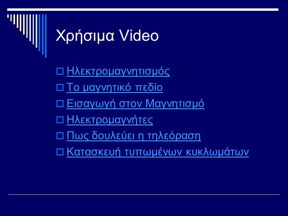 Χρήσιμα Video  Ηλεκτρομαγνητισμός Ηλεκτρομαγνητισμός  Το μαγνητικό πεδίο Το μαγνητικό πεδίο  Εισαγωγή στον Μαγνητισμό Εισαγωγή στον Μαγνητισμό  Ηλ