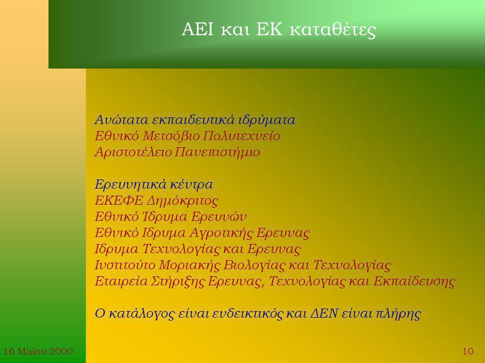 16 Μαϊου 200010 Ανώτατα εκπαιδευτικά ιδρύματα Εθνικό Μετσόβιο Πολυτεχνείο Αριστοτέλειο Πανεπιστήμιο Ερευνητικά κέντρα ΕΚΕΦΕ Δημόκριτος Εθνικό Ίδρυμα Ερευνών Εθνικό Ιδρυμα Αγροτικής Ερευνας Ιδρυμα Τεχνολογίας και Ερευνας Ινστιτούτο Μοριακής Βιολογίας και Τεχνολογίας Εταιρεία Στήριξης Ερευνας, Τεχνολογίας και Εκπαίδευσης Ο κατάλογος είναι ενδεικτικός και ΔΕΝ είναι πλήρης ΑΕΙ και ΕΚ καταθέτες