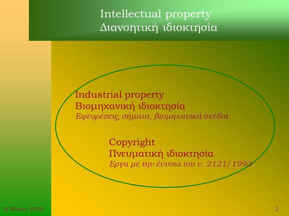 16 Μαϊου 20002 Intellectual property Διανοητική ιδιοκτησία Industrial property Βιομηχανική ιδιοκτησία Εφευρέσεις, σήματα, βιομηχανικά σχέδια Copyright Πνευματική ιδιοκτησία Εργα με την έννοια του ν.