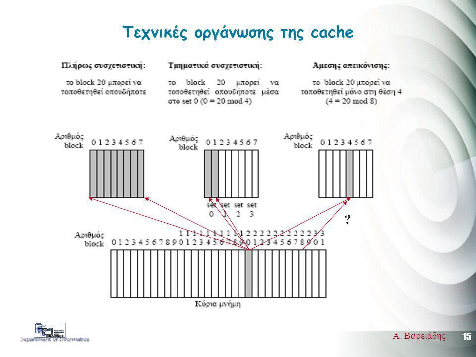 15 Α. Βαφειάδης Τεχνικές οργάνωσης της cache