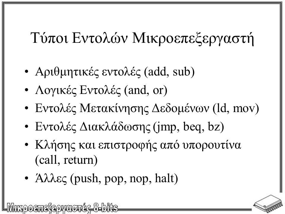 Τύποι Εντολών Μικροεπεξεργαστή Αριθμητικές εντολές (add, sub) Λογικές Εντολές (and, or) Εντολές Μετακίνησης Δεδομένων (ld, mov) Εντολές Διακλάδωσης (jmp, beq, bz) Κλήσης και επιστροφής από υπορουτίνα (call, return) Άλλες (push, pop, nop, halt)