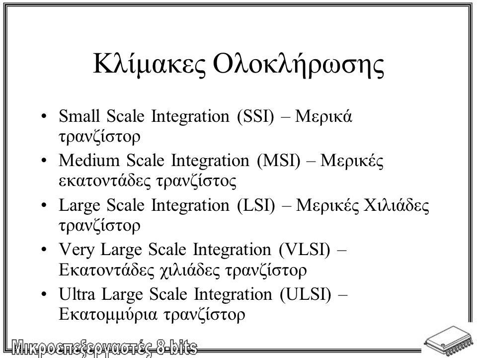 Κλίμακες Ολοκλήρωσης Small Scale Integration (SSI) – Μερικά τρανζίστορ Medium Scale Integration (MSI) – Μερικές εκατοντάδες τρανζίστος Large Scale Integration (LSI) – Μερικές Χιλιάδες τρανζίστορ Very Large Scale Integration (VLSI) – Εκατοντάδες χιλιάδες τρανζίστορ Ultra Large Scale Integration (ULSI) – Εκατομμύρια τρανζίστορ