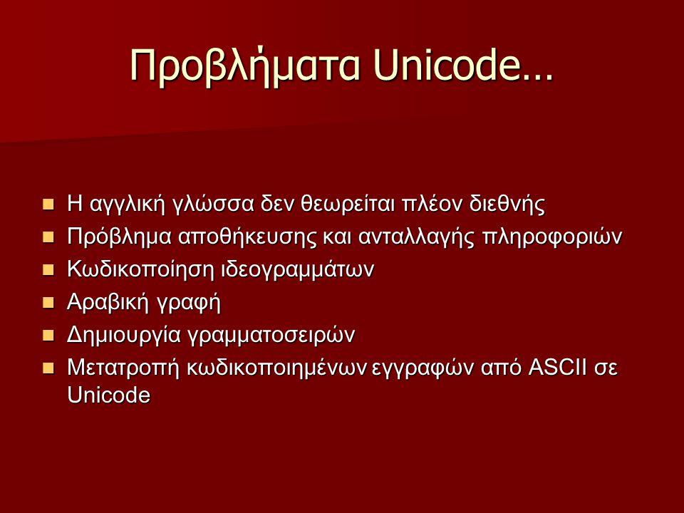 Προβλήματα Unicode… Η αγγλική γλώσσα δεν θεωρείται πλέον διεθνής Η αγγλική γλώσσα δεν θεωρείται πλέον διεθνής Πρόβλημα αποθήκευσης και ανταλλαγής πληροφοριών Πρόβλημα αποθήκευσης και ανταλλαγής πληροφοριών Κωδικοποίηση ιδεογραμμάτων Κωδικοποίηση ιδεογραμμάτων Αραβική γραφή Αραβική γραφή Δημιουργία γραμματοσειρών Δημιουργία γραμματοσειρών Μετατροπή κωδικοποιημένων εγγραφών από ASCII σε Unicode Μετατροπή κωδικοποιημένων εγγραφών από ASCII σε Unicode