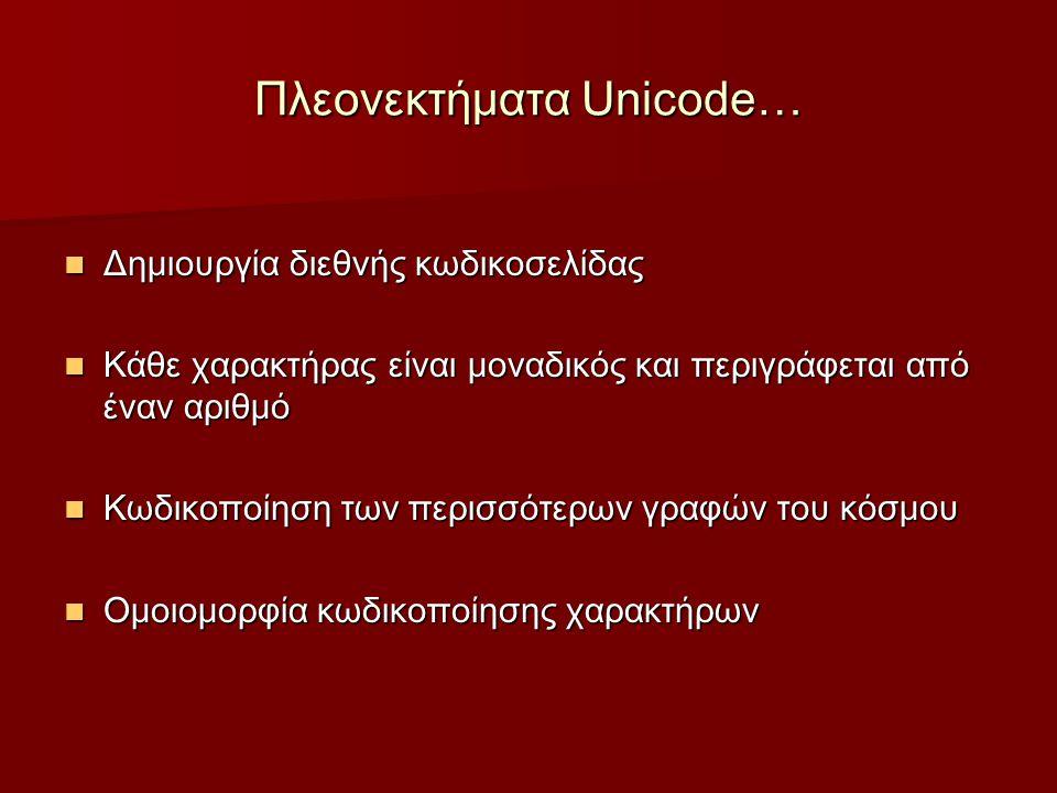 Πλεονεκτήματα Unicode… Δημιουργία διεθνής κωδικοσελίδας Δημιουργία διεθνής κωδικοσελίδας Κάθε χαρακτήρας είναι μοναδικός και περιγράφεται από έναν αριθμό Κάθε χαρακτήρας είναι μοναδικός και περιγράφεται από έναν αριθμό Κωδικοποίηση των περισσότερων γραφών του κόσμου Κωδικοποίηση των περισσότερων γραφών του κόσμου Ομοιομορφία κωδικοποίησης χαρακτήρων Ομοιομορφία κωδικοποίησης χαρακτήρων