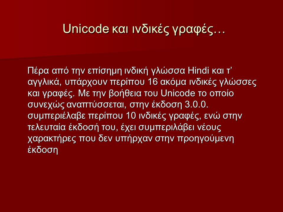 Unicode και ινδικές γραφές… Unicode και ινδικές γραφές… Πέρα από την επίσημη ινδική γλώσσα Hindi και τ' αγγλικά, υπάρχουν περίπου 16 ακόμα ινδικές γλώσσες και γραφές.
