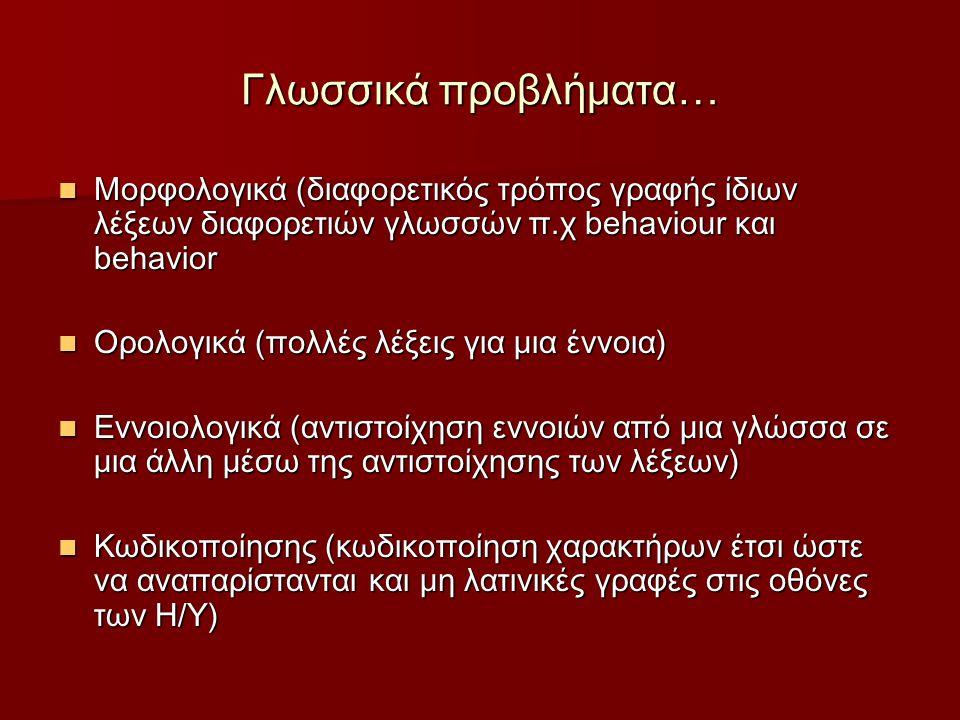 Γλωσσικά προβλήματα… Μορφολογικά (διαφορετικός τρόπος γραφής ίδιων λέξεων διαφορετιών γλωσσών π.χ behaviour και behavior Μορφολογικά (διαφορετικός τρόπος γραφής ίδιων λέξεων διαφορετιών γλωσσών π.χ behaviour και behavior Ορολογικά (πολλές λέξεις για μια έννοια) Ορολογικά (πολλές λέξεις για μια έννοια) Εννοιολογικά (αντιστοίχηση εννοιών από μια γλώσσα σε μια άλλη μέσω της αντιστοίχησης τωv λέξεων) Εννοιολογικά (αντιστοίχηση εννοιών από μια γλώσσα σε μια άλλη μέσω της αντιστοίχησης τωv λέξεων) Κωδικοποίησης (κωδικοποίηση χαρακτήρων έτσι ώστε να αναπαρίστανται και μη λατινικές γραφές στις οθόνες των Η/Υ) Κωδικοποίησης (κωδικοποίηση χαρακτήρων έτσι ώστε να αναπαρίστανται και μη λατινικές γραφές στις οθόνες των Η/Υ)