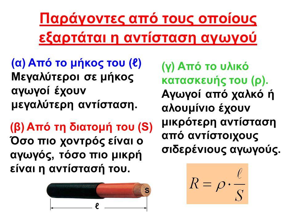 Χαρακτηριστικές τιμές ειδικής αντίστασης διαφόρων υλικών υλικόρ (μΩ·m) Άργυρος0,0163 Χαλκός0,0175 Χρυσός0,0220 Αλουμίνιο0,0290 Σίδηρος0,1 Χρωμιονικελλίνη1