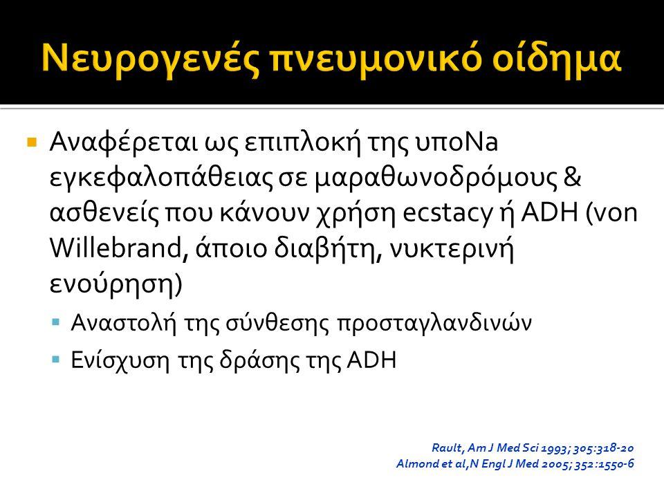  Αναφέρεται ως επιπλοκή της υποNa εγκεφαλοπάθειας σε μαραθωνοδρόμους & ασθενείς που κάνουν χρήση ecstacy ή ADH (von Willebrand, άποιο διαβήτη, νυκτερινή ενούρηση)  Αναστολή της σύνθεσης προσταγλανδινών  Ενίσχυση της δράσης της ADH Rault, Am J Med Sci 1993; 305:318-20 Almond et al,N Engl J Med 2005; 352:1550-6