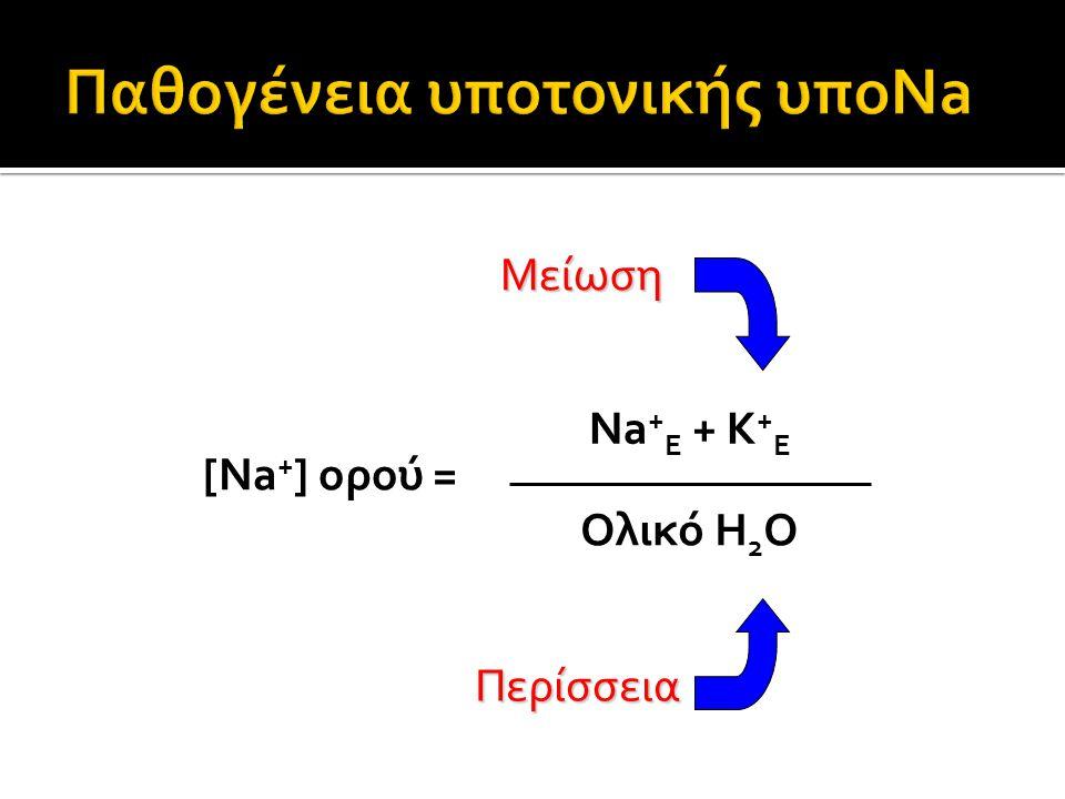 Μείωση Περίσσεια [Na + ] ορού = Na + E + K + E Ολικό Η 2 Ο