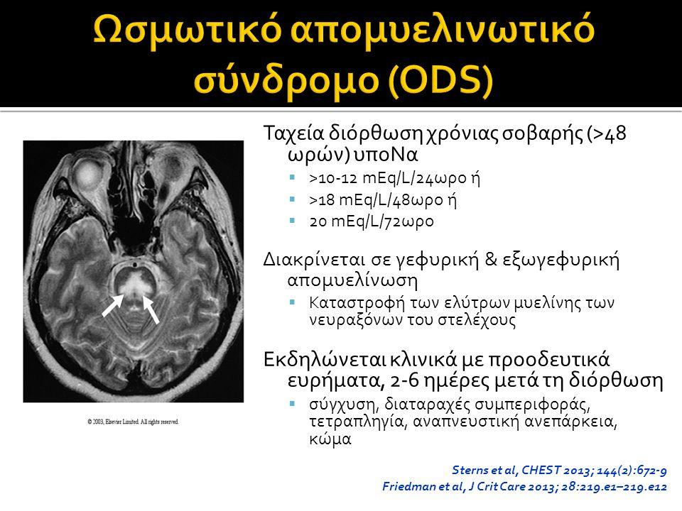 Ταχεία διόρθωση χρόνιας σοβαρής (>48 ωρών) υποΝα  >10-12 mEq/L/24ωρο ή  >18 mEq/L/48ωρο ή  20 mEq/L/72ωρο Διακρίνεται σε γεφυρική & εξωγεφυρική απομυελίνωση  Καταστροφή των ελύτρων μυελίνης των νευραξόνων του στελέχους Εκδηλώνεται κλινικά με προοδευτικά ευρήματα, 2-6 ημέρες μετά τη διόρθωση  σύγχυση, διαταραχές συμπεριφοράς, τετραπληγία, αναπνευστική ανεπάρκεια, κώμα Sterns et al, CHEST 2013; 144(2):672-9 Friedman et al, J Crit Care 2013; 28:219.e1–219.e12
