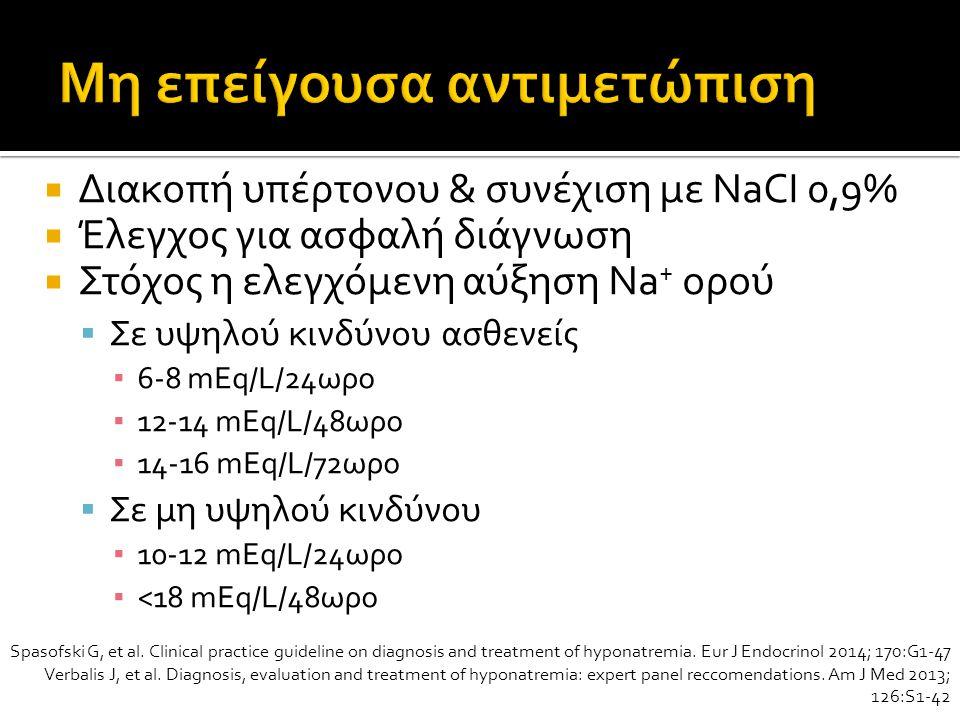 Διακοπή υπέρτονου & συνέχιση με NaCI 0,9%  Έλεγχος για ασφαλή διάγνωση  Στόχος η ελεγχόμενη αύξηση Na + ορού  Σε υψηλού κινδύνου ασθενείς ▪ 6-8 mEq/L/24ωρο ▪ 12-14 mEq/L/48ωρο ▪ 14-16 mEq/L/72ωρο  Σε μη υψηλού κινδύνου ▪ 10-12 mEq/L/24ωρο ▪ <18 mEq/L/48ωρο Spasofski G, et al.