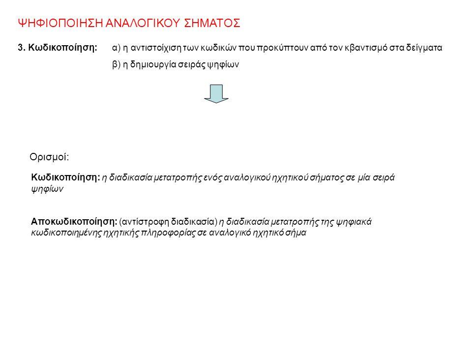 ΨΗΦΙΟΠΟΙΗΣΗ ΑΝΑΛΟΓΙΚΟΥ ΣΗΜΑΤΟΣ 3. Kωδικοποίηση: α) η αντιστοίχιση των κωδικών που προκύπτουν από τον κβαντισμό στα δείγματα β) η δημιουργία σειράς ψηφ