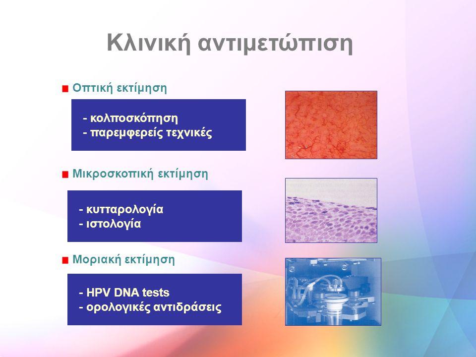 Κλινική αντιμετώπιση Οπτική εκτίμηση Μικροσκοπική εκτίμηση Μοριακή εκτίμηση - κολποσκόπηση - παρεμφερείς τεχνικές - κυτταρολογία - ιστολογία - HPV DNA