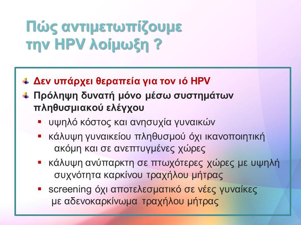 Δεν υπάρχει θεραπεία για τον ιό HPV Πρόληψη δυνατή μόνο μέσω συστημάτων πληθυσμιακού ελέγχου  υψηλό κόστος και ανησυχία γυναικών  κάλυψη γυναικείου