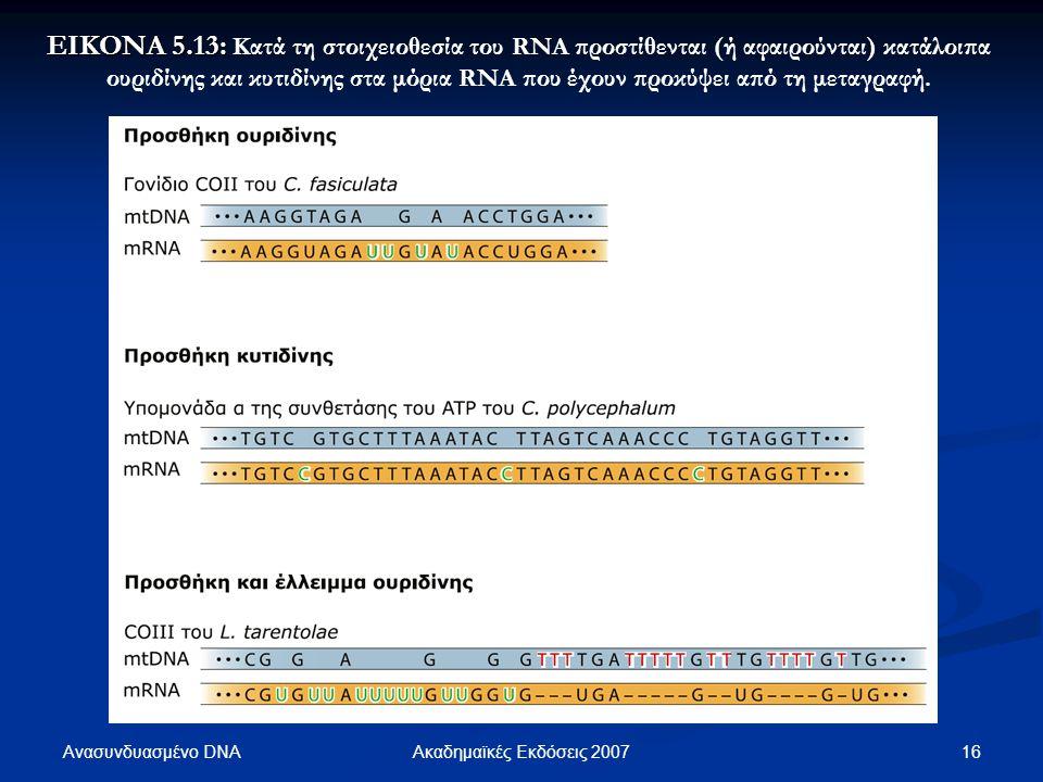 Ανασυνδυασμένο DNA 16Ακαδημαϊκές Εκδόσεις 2007 ΕΙΚΟΝΑ 5.13: ΕΙΚΟΝΑ 5.13: Κατά τη στοιχειοθεσία του RNA προστίθενται (ή αφαιρούνται) κατάλοιπα ουριδίνη