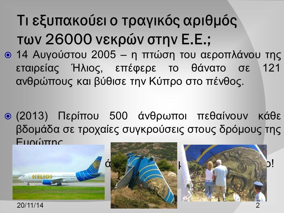 Τι εξυπακούει ο τραγικός αριθμός των 26000 νεκρών στην Ε.Ε.;  14 Αυγούστου 2005 – η πτώση του αεροπλάνου της εταιρείας Ήλιος, επέφερε το θάνατο σε 121 ανθρώπους και βύθισε την Κύπρο στο πένθος.