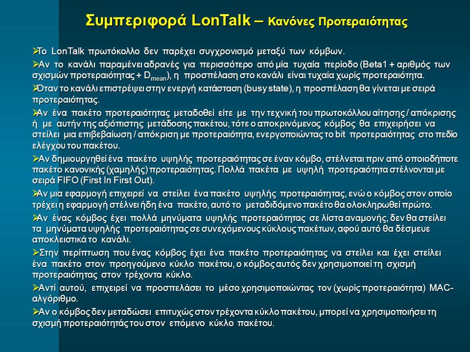  Το LonTalk πρωτόκολλο δεν παρέχει συγχρονισμό μεταξύ των κόμβων.