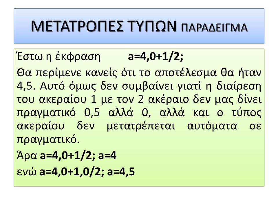 ΜΕΤΑΤΡΟΠΕΣ ΤΥΠΩΝ ΠΑΡΑΔΕΙΓΜΑ Έστω η έκφραση a=4,0+1/2; Θα περίμενε κανείς ότι το αποτέλεσμα θα ήταν 4,5. Αυτό όμως δεν συμβαίνει γιατί η διαίρεση του α