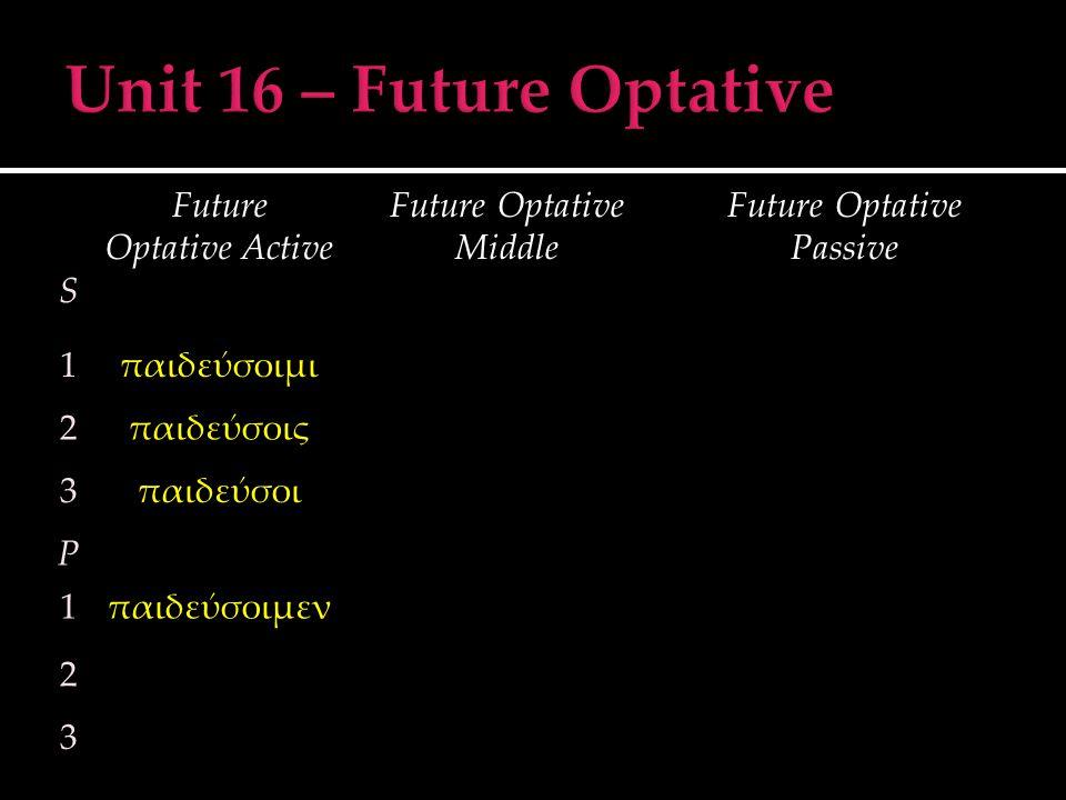 S Future Optative Active Future Optative Middle Future Optative Passive 1παιδεύσοιμι 2παιδεύσοις 3παιδεύσοι P 1παιδεύσοιμεν 2 3