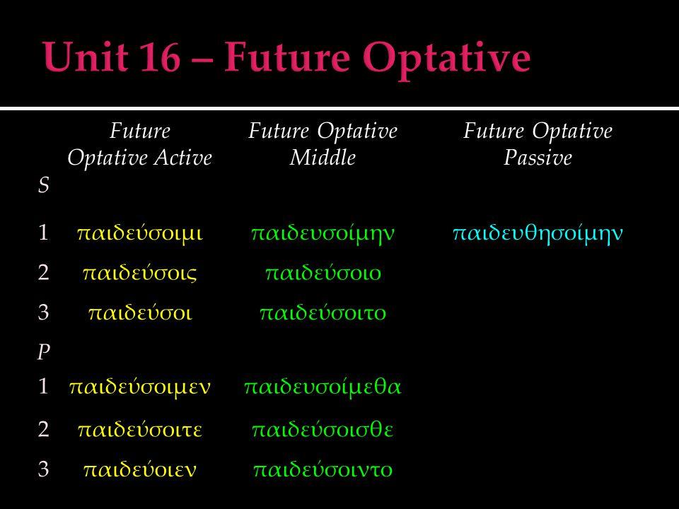 S Future Optative Active Future Optative Middle Future Optative Passive 1παιδεύσοιμιπαιδευσοίμηνπαιδευθησοίμην 2παιδεύσοιςπαιδεύσοιο 3παιδεύσοιπαιδεύσ