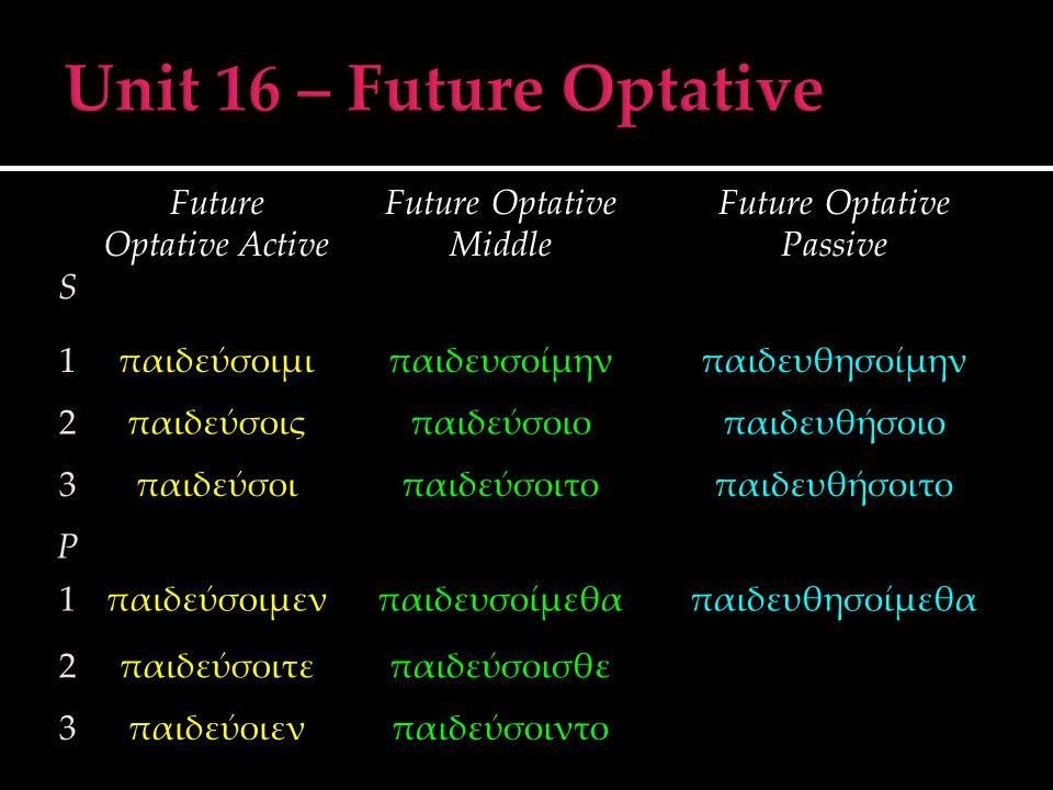 S Future Optative Active Future Optative Middle Future Optative Passive 1παιδεύσοιμιπαιδευσοίμηνπαιδευθησοίμην 2παιδεύσοιςπαιδεύσοιοπαιδευθήσοιο 3παιδ