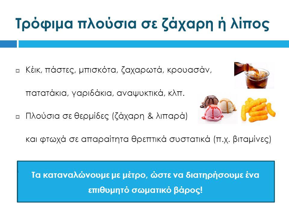 Τρόφιμα πλούσια σε ζάχαρη ή λίπος  Κέικ, πάστες, μπισκότα, ζαχαρωτά, κρουασάν,  πατατάκια, γαριδάκια, αναψυκτικά, κλπ.