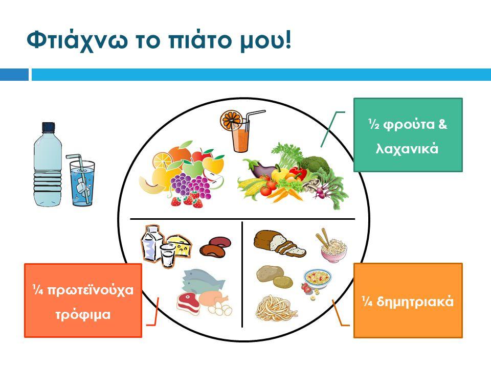 Φτιάχνω το πιάτο μου! ½ φρούτα & λαχανικά ¼ δημητριακά ¼ πρωτεϊνούχα τρόφιμα