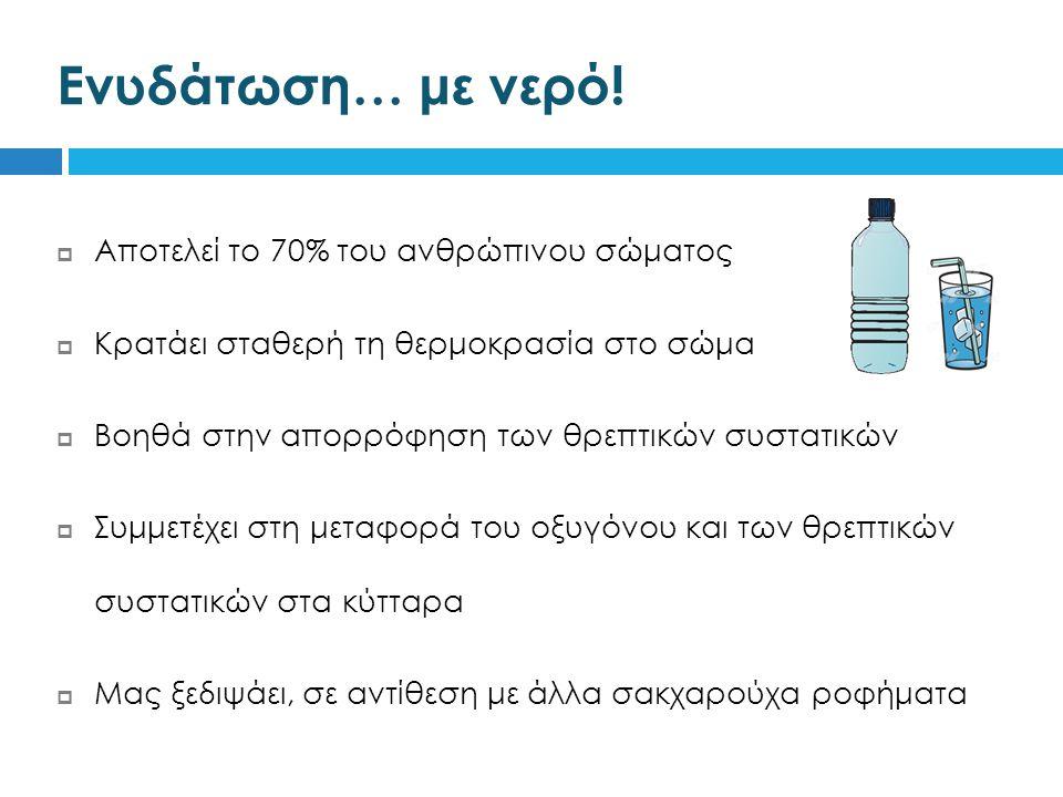  Αποτελεί το 70% του ανθρώπινου σώματος  Κρατάει σταθερή τη θερμοκρασία στο σώμα  Βοηθά στην απορρόφηση των θρεπτικών συστατικών  Συμμετέχει στη μεταφορά του οξυγόνου και των θρεπτικών συστατικών στα κύτταρα  Μας ξεδιψάει, σε αντίθεση με άλλα σακχαρούχα ροφήματα Ενυδάτωση… με νερό!