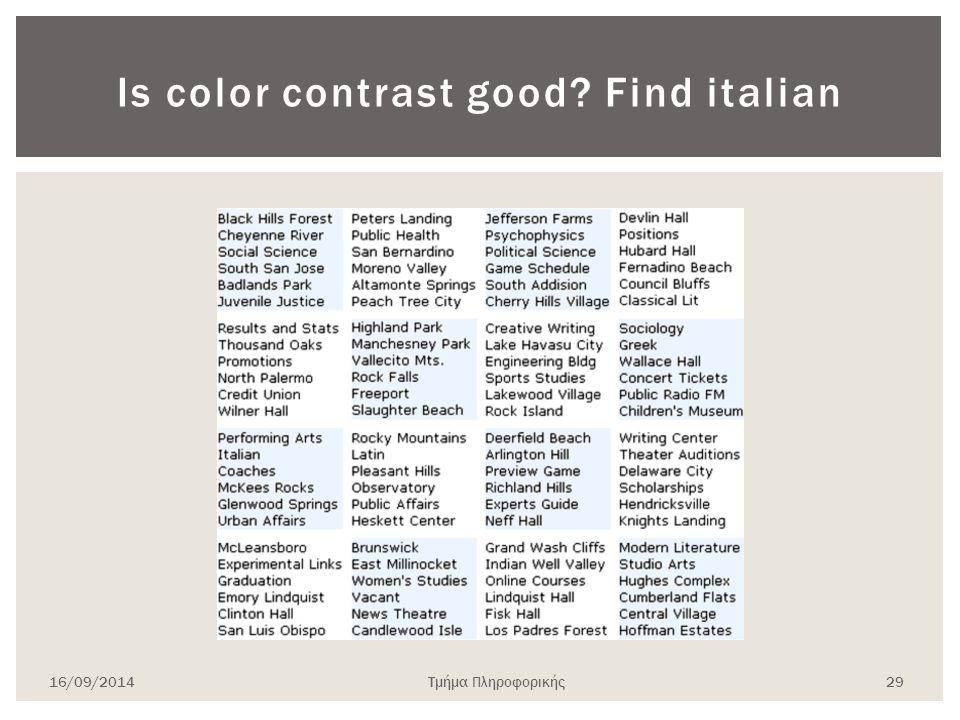 Is color contrast good? Find italian 16/09/2014Τμήμα Πληροφορικής 29