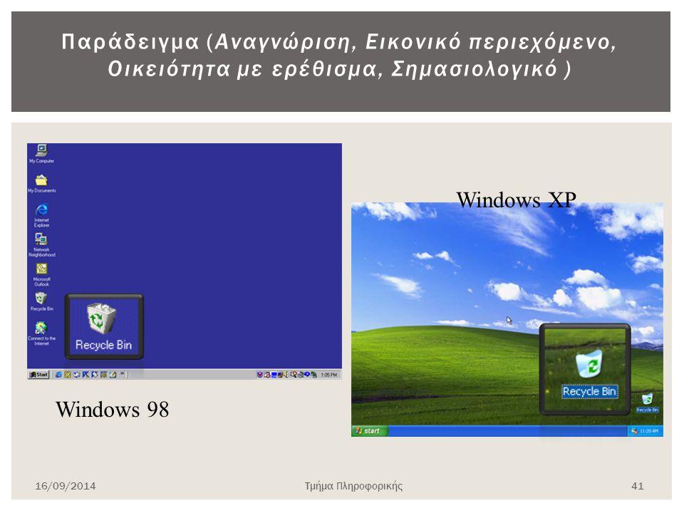 Παράδειγμα (Αναγνώριση, Εικονικό περιεχόμενο, Οικειότητα με ερέθισμα, Σημασιολογικό ) Windows 98 Windows XP 16/09/2014Τμήμα Πληροφορικής 41