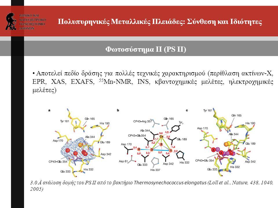 Πολυπυρηνικές Μεταλλικές Πλειάδες: Σύνθεση και Ιδιότητες Αποτελεί πεδίο δράσης για πολλές τεχνικές χαρακτηρισμού (περίθλαση ακτίνων-Χ, EPR, XAS, EXAFS, 55 Mn-NMR, INS, κβαντοχημικές μελέτες, ηλεκτροχημικές μελέτες) Φωτοσύστημα ΙΙ (PS II) 3.0 Å ανάλυση δομής του PS II από το βακτήριο Thermosynechococcus elongatus (Loll et al., Nature, 438, 1040, 2005)