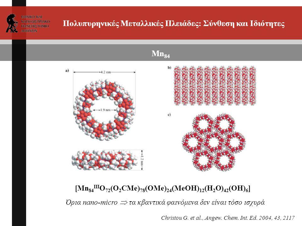 Πολυπυρηνικές Μεταλλικές Πλειάδες: Σύνθεση και Ιδιότητες Mn 84 [Mn 84 III O 72 (O 2 CMe) 78 (OMe) 24 (MeOH) 12 (H 2 O) 42 (OH) 6 ] Όρια nano-micro  τα κβαντικά φαινόμενα δεν είναι τόσο ισχυρά Christou G.