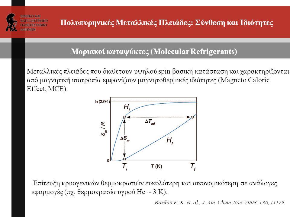 Πολυπυρηνικές Μεταλλικές Πλειάδες: Σύνθεση και Ιδιότητες Μοριακοί καταψύκτες (Molecular Refrigerants) Μεταλλικές πλειάδες που διαθέτουν υψηλού spin βασική κατάσταση και χαρακτηρίζονται από μαγνητική ισοτροπία εμφανίζουν μαγνητοθερμικές ιδιότητες (Magneto Caloric Effect, MCE).