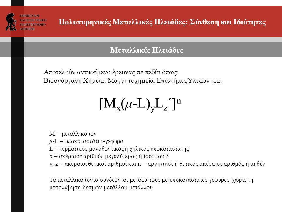 Πολυπυρηνικές Μεταλλικές Πλειάδες: Σύνθεση και Ιδιότητες [M x (μ-L) y L z ΄] n Μεταλλικές Πλειάδες Μ = μεταλλικό ιόν μ-L = υποκαταστάτης-γέφυρα L = τερματικός μονοδοντικός ή χηλικός υποκαταστάτης x = ακέραιος αριθμός μεγαλύτερος ή ίσος του 3 y, z = ακέραιοι θετικοί αριθμοί και n = αρνητικός ή θετικός ακέραιος αριθμός ή μηδέν Τα μεταλλικά ιόντα συνδέονται μεταξύ τους με υποκαταστάτες-γέφυρες χωρίς τη μεσολάβηση δεσμών μετάλλου-μετάλλου.
