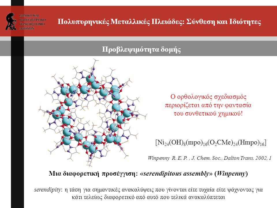 Πολυπυρηνικές Μεταλλικές Πλειάδες: Σύνθεση και Ιδιότητες Προβλεψιμότητα δομής Μια διαφορετική προσέγγιση: «serendipitous assembly» (Winpenny) serendip