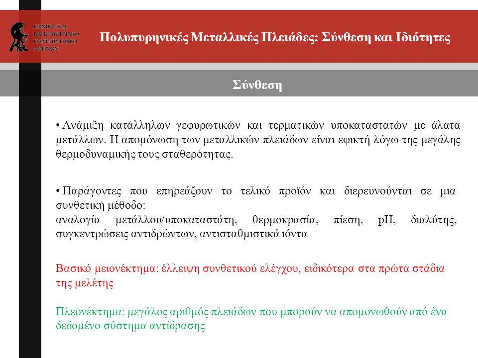 Πολυπυρηνικές Μεταλλικές Πλειάδες: Σύνθεση και Ιδιότητες Σύνθεση Παράγοντες που επηρεάζουν το τελικό προϊόν και διερευνούνται σε μια συνθετική μέθοδο: αναλογία μετάλλου/υποκαταστάτη, θερμοκρασία, πίεση, pH, διαλύτης, συγκεντρώσεις αντιδρώντων, αντισταθμιστικά ιόντα Aνάμιξη κατάλληλων γεφυρωτικών και τερματικών υποκαταστατών με άλατα μετάλλων.