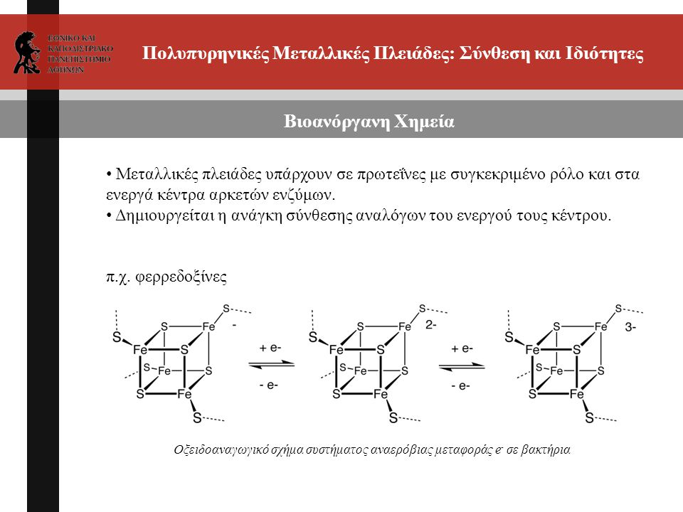 Πολυπυρηνικές Μεταλλικές Πλειάδες: Σύνθεση και Ιδιότητες Βιοανόργανη Χημεία Μεταλλικές πλειάδες υπάρχουν σε πρωτεΐνες με συγκεκριμένο ρόλο και στα ενεργά κέντρα αρκετών ενζύμων.