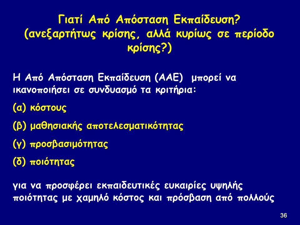 36 Η Από Απόσταση Εκπαίδευση (ΑΑΕ) μπορεί να ικανοποιήσει σε συνδυασμό τα κριτήρια: (α) κόστους (β) μαθησιακής αποτελεσματικότητας (γ) προσβασιμότητας
