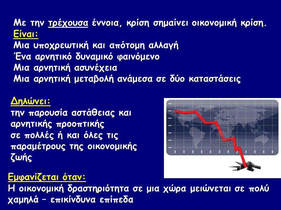 Δηλώνει: την παρουσία αστάθειας και αρνητικής προοπτικής σε πολλές ή και όλες τις παραμέτρους της οικονομικής ζωής Εμφανίζεται όταν: H οικονομική δραστηριότητα σε μια χώρα μειώνεται σε πολύ χαμηλά – επικίνδυνα επίπεδα Με την τρέχουσα έννοια, κρίση σημαίνει οικονομική κρίση.